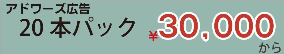 アドワーズ広告制作20本パック¥30,000